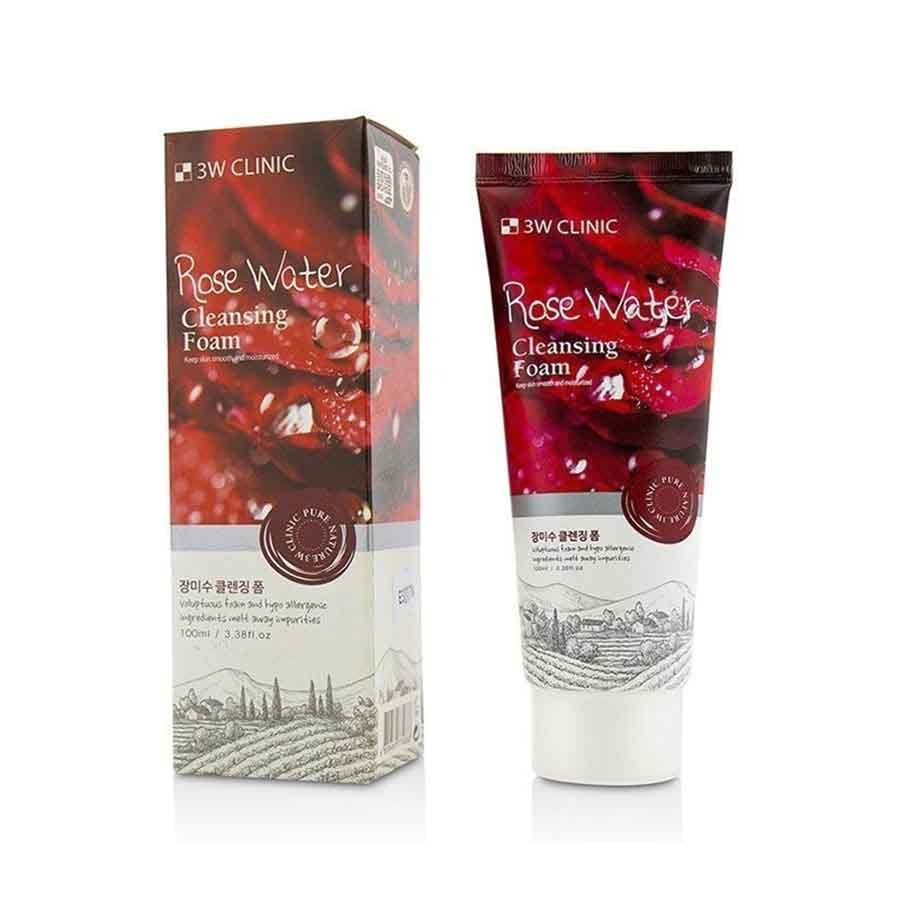 3W CLINIC Pure Natural Rose Water Cleansing Foam