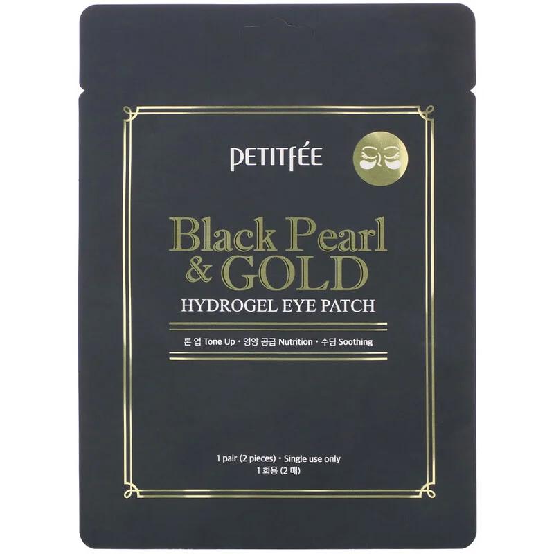 Гидрогелевые патчи с черным жемчугом и золотом Petitfee, 1 пара/2шт.